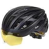 JBM Adult Bike Helmet with Removable Magnetic Visor Cycling Helmets for Men Women Safety Protection CPSC Certified Adjustable Lightweight Helmet (Black)