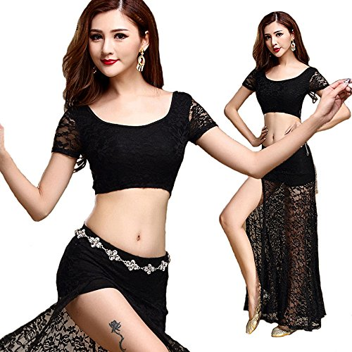 [URdream Lady's Lace Belly Dance Costumes India Dance Outfit Halloween Carnival with Jewelry Belt] (Belly Dancing Costumes Amazon)
