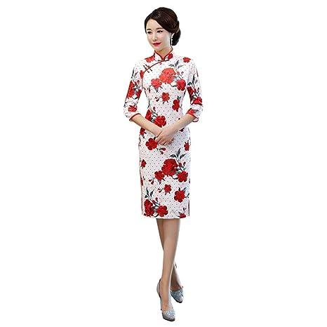 YAN Vestido Chino Cheongsam Qipao de Las Mujeres-Oriental ...