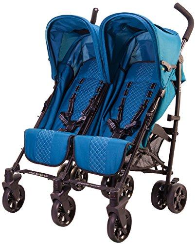 guzzie+Guss Twice Double Umbrella Stroller, Aqua