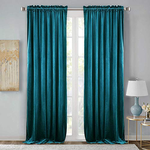 StangH Velvet Blackout Drape Curtains- Extra Long Luxury Home Decoration Velvet Curtains Thermal Insulated Patio Door Panels for Dinning Room, Teal, W52 x L108 inches, 2 Pcs (Teal Panel Drapes)
