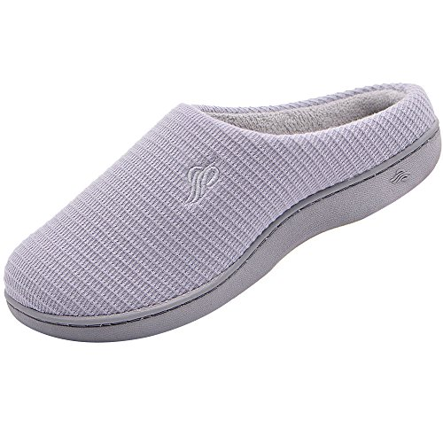 Wishcotton Womens Breathable Cotton Memory Foam House Slippers w/Indoor Outdoor Sole
