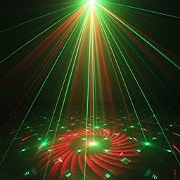 SUNY RG 3 Len 40 Gobos Red Green Laser Blue LED Professional Projector Sound Active Remote-Controlled Stage Light for DJ Party Home Show Carnival Wedding Decorating Z40RG