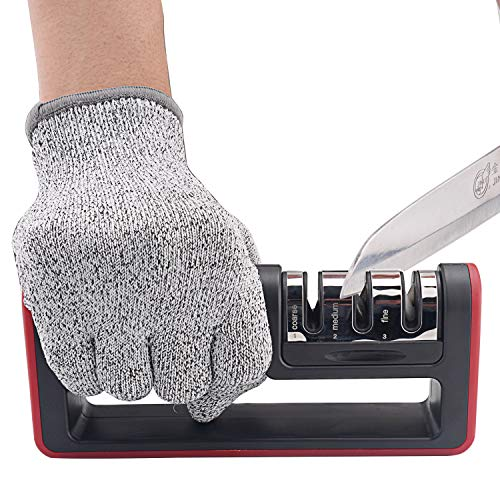 Kitchen Knife Sharpener, 3-Stage Knife Sharpening Tool Helps Repair, Restore and Polish Blades – Reveal a Razor-sharp Blade, (Cut-Resistant Glove Included)