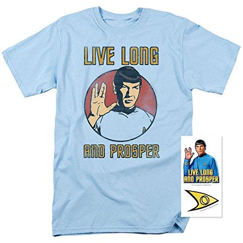 Popfunk Star Trek Spock Live Long and Prosper T Shirt w/Stickers (Medium) Star Trek Stickers