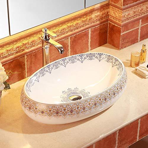 ERGOUZI Bathroom Wooden Countertop Oval Ceramic Disc Sink C ()