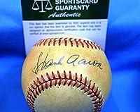HANK AARON SGC COA Hand Signed Feeney National League Autograph Baseball - Baseball Slabbed Autographed Cards