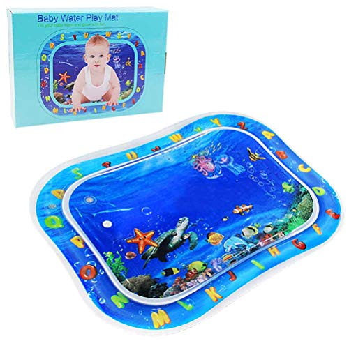 """GreenItem Baby Water Mat Tummy Time 2019 Learning Alphabet Water Inflatable Non Toxic Playmat Earlyear Baby Indoor Outdoor Crawling Pad Cushion Activity Centre (30""""x24"""")"""