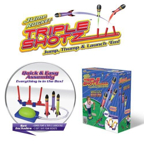Jump Rocket Triple Shotz Air-Powered Foam Rocket Set with Launcher + 3 JR. Rockets - Powered Air Rocket Foam