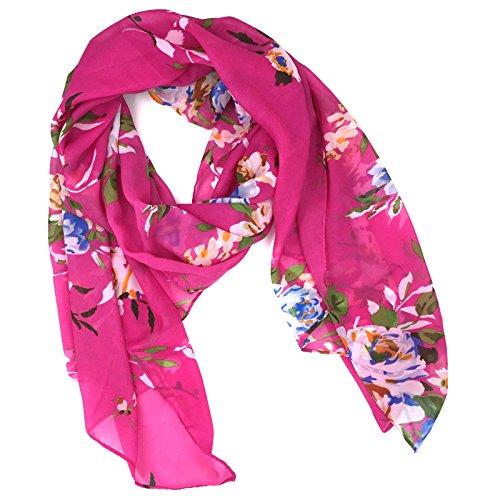 Fashionable Floral Print Soft Chiffon Scarf - Purple (Scarf Floral Soft)