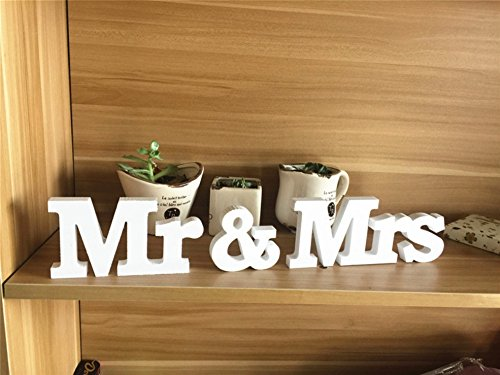 E&L Mr & Mrs Wedding Sign Mr & Mrs Signs Mr & Mrs Letters For Sweetheart Table Decoration (White) ()