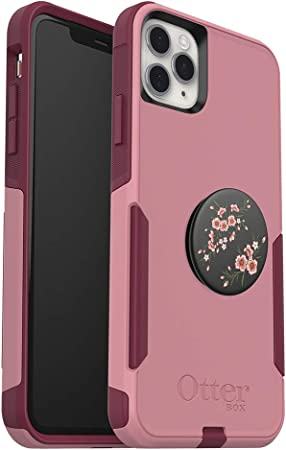 Bundle: OtterBox Commuter Series Case for iPhone 11 Pro Max - Blossom Flair Cupids Way + PopSockets PopGrip -