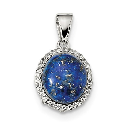 - Jewelry Pendants & Charms Fancy Sterling Silver Rhodium-plated Polished with Lapis and White Topaz Pendant