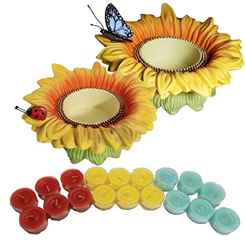 ShoppeShare Sunflower Buddies Tealight Holder Decoration and Candles Bundle - Retired Partylite ()