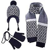 Vivobiniya Baby Boy Winter Hat Scarf Gloves 3pcs/Set Kid boys Knit hats (2-4years old(18.8-20.4in))