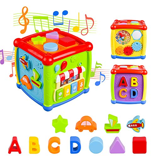 Baby Activity Cube, Shape Sorter Blocks Baby Toy 12-18 Months, Music Learning Toys for Toddlers Infant 1-3 Years Old,Early Educational Puzzle Development Sorting Cube