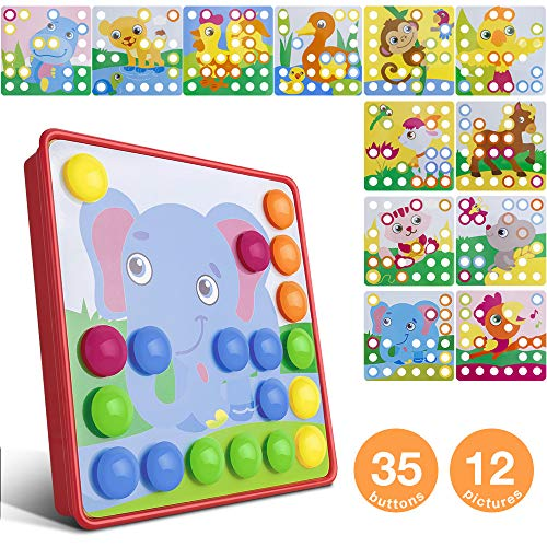 Button Art Toys for Toddlers, Color Button Art Matching Mosaic Pegboard Toy Set,DIY Early Learning Educational Puzzle Peg Board Games Best Gift for Preschool Kids Boys - Set Gift Button