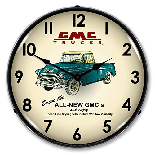 The Finest Website Inc. New GMC Trucks 1956 Retro Style Advertising LED Lighted Clock - Ships Free Next Business Day to Lower 48 States