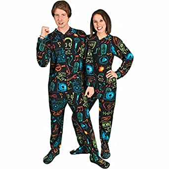 Footed Pajamas for Adults Vintage 80s Fleece Drop Seat, 3