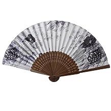 Ink Flower Pattern Hand Fan Japanese Folding Fan Pocket Fan