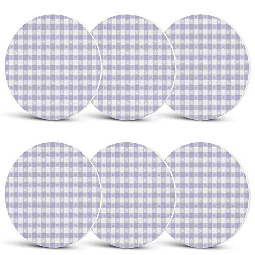 Lavender Custom Coasters,Pastel Colored Classic Gingham Check Pattern with Delicate Small Blossoms Decorative for Wine Glasses Cups & MugsSet of 6