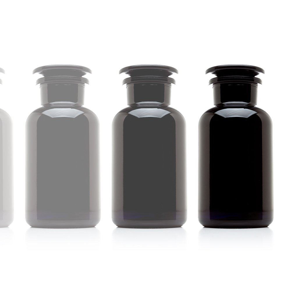 Infinity Jars 500 ml (17 fl oz) Black Ultraviolet All Glass Refillable Apothecary Jar 10-Pack
