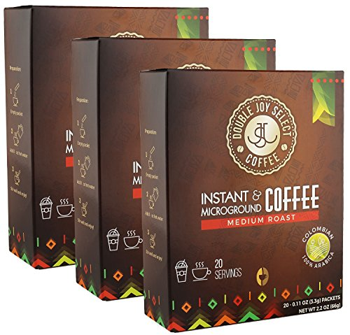 Fresh Instant Medium Roast Colombian Coffee – Microground - Premium Quality - Tastes Like Fresh Brewed (60 Packets)