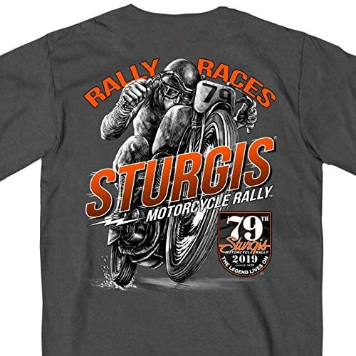 CHARCOAL Extra Extra Large Official 2019 Sturgis Motorcycle Rally Solo Racer Charcoal T-Shirt