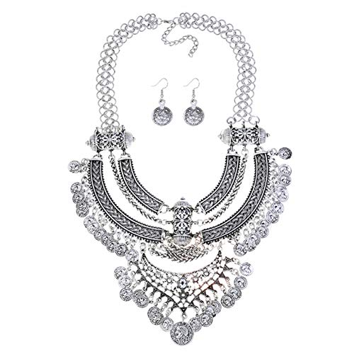 Lanue Fashion Bib Bohemian Statement Coin Necklace and Earrings Punk Ethnic style Jewelry Set for Women (Style - Necklace Ethnic Old Tribal Silver