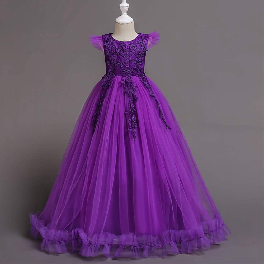 Girls purple lilac lace sleeveless party crystal prom midi dress age 11-16 years