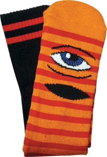 Toy Machine Sect Eye Stripe Crew Socks Orange Red Black 1 Pair Skate Socks by Toy Machine Skateboards
