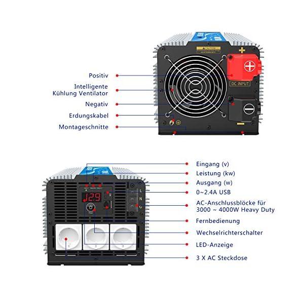 51t0uD86dXL 3000W Wechselrichter 12V auf 230V Reiner Sinus Spannungswandler Umwandler-Inverter Konverter mit Fernbedienung LED…