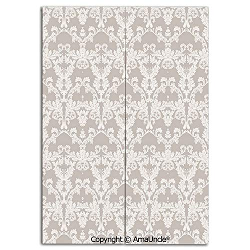 Cute Doorway Curtain Screen,Modern Room Divider Curtain,Nature Garden Themed Pattern with Damask Imperial Tile Rococo Inspired Stylized(31.5x47.2 Inches),Hanging Curtain for Bedroom Living Room Kitche (Rare Imperial Glass Patterns)