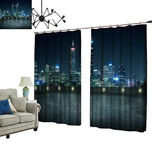 PRUNUS Decorative Curtains has Hook Empty Asphalt roof top City Skyline Night Scene Perth Australia Machine Washable for Easy Care,W84.3 -