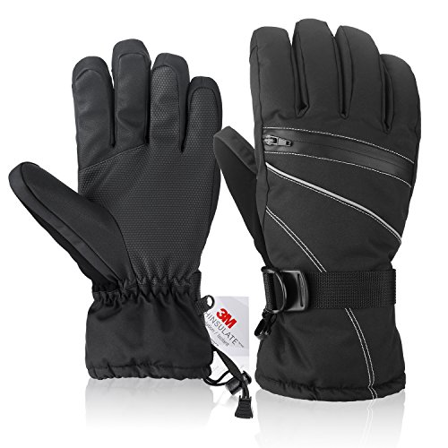 Ski Gloves,Fazitrip Windproof Waterproof Winter Gloves with Sensitive Touchscreen Function and Zipper Pocket for Women, 3M Thinsulate Insulation Idea for Skiing, Snowboarding and Cycling