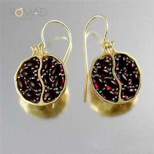 Earrin Earrings Jewelry - GEDASHU Earrings Red Pomegranate Earrins Gold Earrings for Women Earings Jewelry
