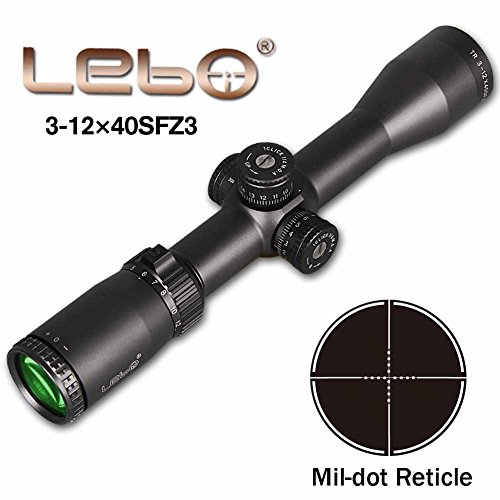 Tactical 3-12x40 SFZ3 AR15 Rifle Scopes HD Mil-Dot Reticle ,Side Parallax Adjustment or lockable, Hold Zero-Reset for Outdoor Hunting