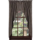 IHF Home Decor Cambridge Black Design Lined Prairie Curtain Window Treatments 100% Cotton 72'' x 63''