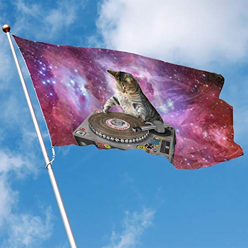 YUANSHAN Home Garden Flag Cats Playing Music in Space Polyester Flag Indoor/Outdoor Wall Banners Decorative Flag 3' X 5'