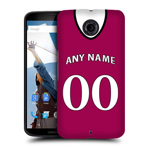 Case Fun Personalised Aston Villa Football Shirt, Any Name, Any Number Snap-on Hard Back Case Cover for Motorola Google Nexus 6