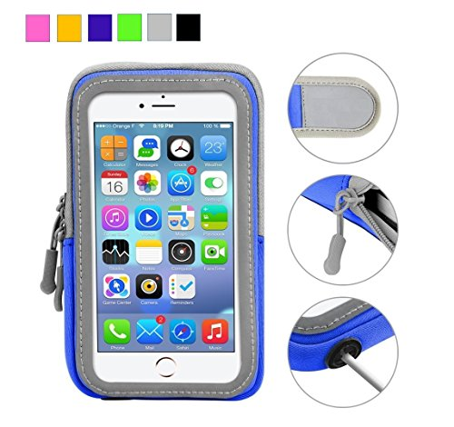 Cell Phone Armband: 5.5 Inch Case for iPhone X, 8, 7, 6, 6S, 5, 5C, 5S, and Galaxy S5 - Adjustable Reflective Workout Band, Key Holder & Screen (Gel Band Armband)
