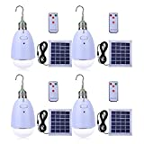 LED Solar Bulb Hanging E27 Base 12-LED Dimmable Light Multi-functional Solar Panel Powered with Remote for Camping Hiking Home Emergency (Pack of 4)