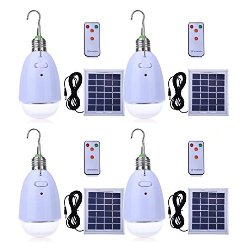 LED Solar Bulb Hanging E27 Base 12-LED Dimmable Light Multi-functional Solar Panel Powered with Remote for Camping Hiking Home Emergency (Pack of 4) by PRODELI