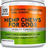 GOODGROWLIES Hemp Hip & Joint Supplement for Dogs - Made in USA - Glucosamine - MSM - Turmeric - Hemp Seed Oil Infused Treats - Natural Joint Pain Relief & Mobility - 120 Soft Chews
