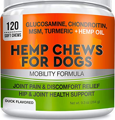 GOODGROWLIES Hemp Hip & Joint Supplement for Dogs - Made in USA - Glucosamine - MSM - Turmeric - Hemp Seed Oil Infused Treats - Natural Joint Pain Relief & Mobility - 120 Soft Chews (Safe Pain Medication For Dogs With Arthritis)