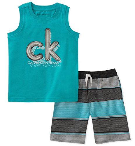 Calvin Klein Baby Boys 2 Pieces Muscle Top Short Set, Mint Green 18M -