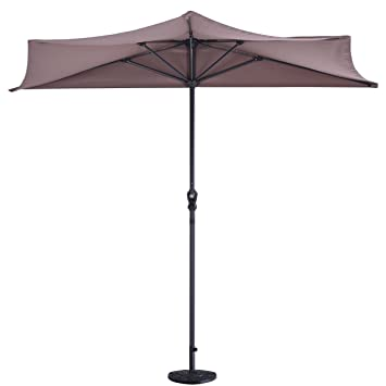 9Ft Half Round Umbrella Patio UV Protective Sunshade with 20u0026quot; Half Round Umbrella Base Flower  sc 1 st  Amazon.com & Amazon.com : 9Ft Half Round Umbrella Patio UV Protective Sunshade ...