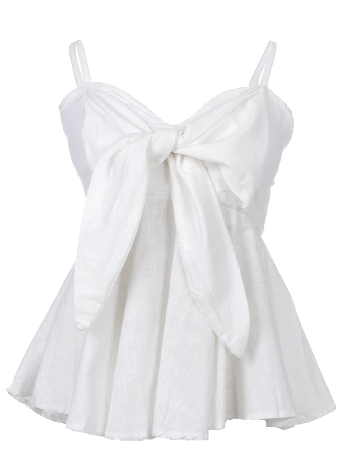 Anna-Kaci Womens White Sweetheart Neckline Bow Trim Peplum Pleat Waist Top