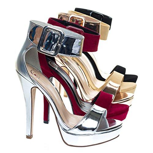 High Heel Stiletto Platform Dress Sandal w Thick Over Sized Ankle Strap Silver
