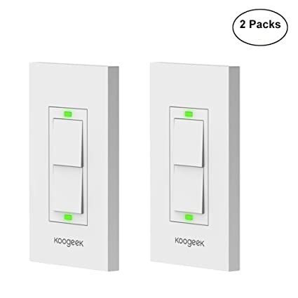Koogeek Two Gang Wi-Fi Enabled Smart Light Switch Works with Apple HomeKit Support Siri Remote Control One-way Single Pole Wall Switch on 2.4GHz Network Monitor Power Consumption White